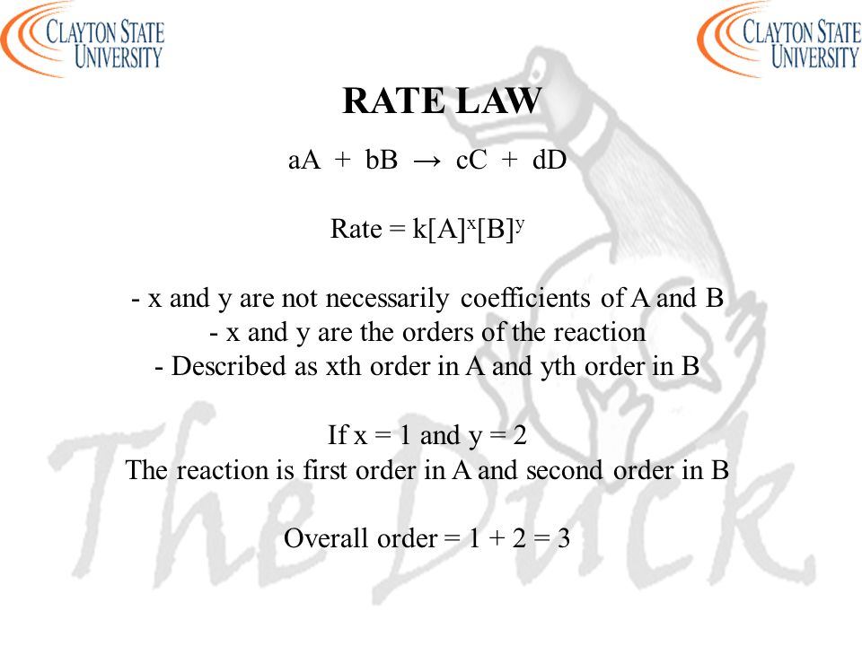 RATE LAW aA + bB → cC + dD Rate = k[A]x[B]y